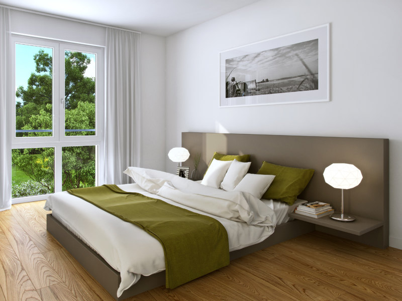 Property Neue Mitte Neufahrn - Illustration condominium 111, bedroom