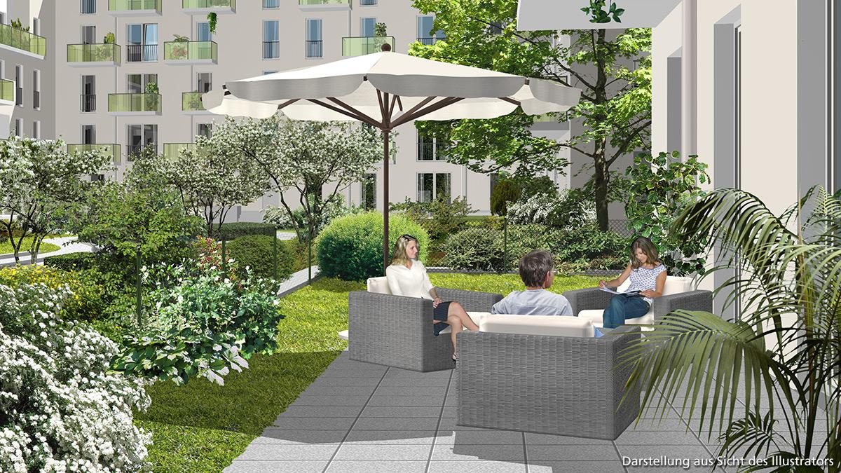Terrassenansicht Neue Gärten Giesing WA 1