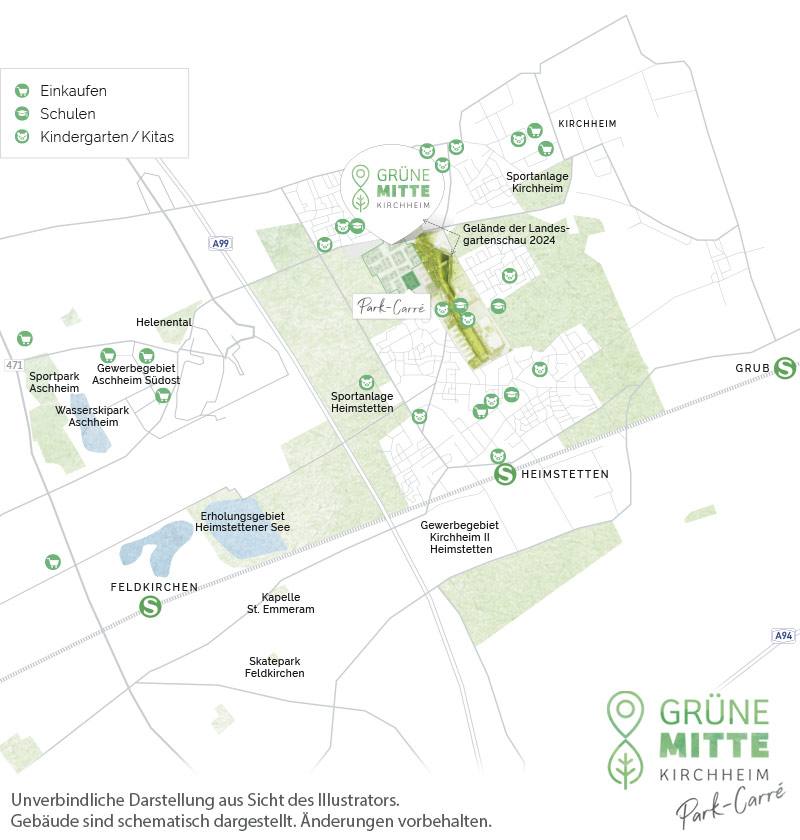 Eigentumswohnungen Kirchheim bei München: Grüne Mitte Kirchheim - Park-Carré - Stadtplanausschnitt 1