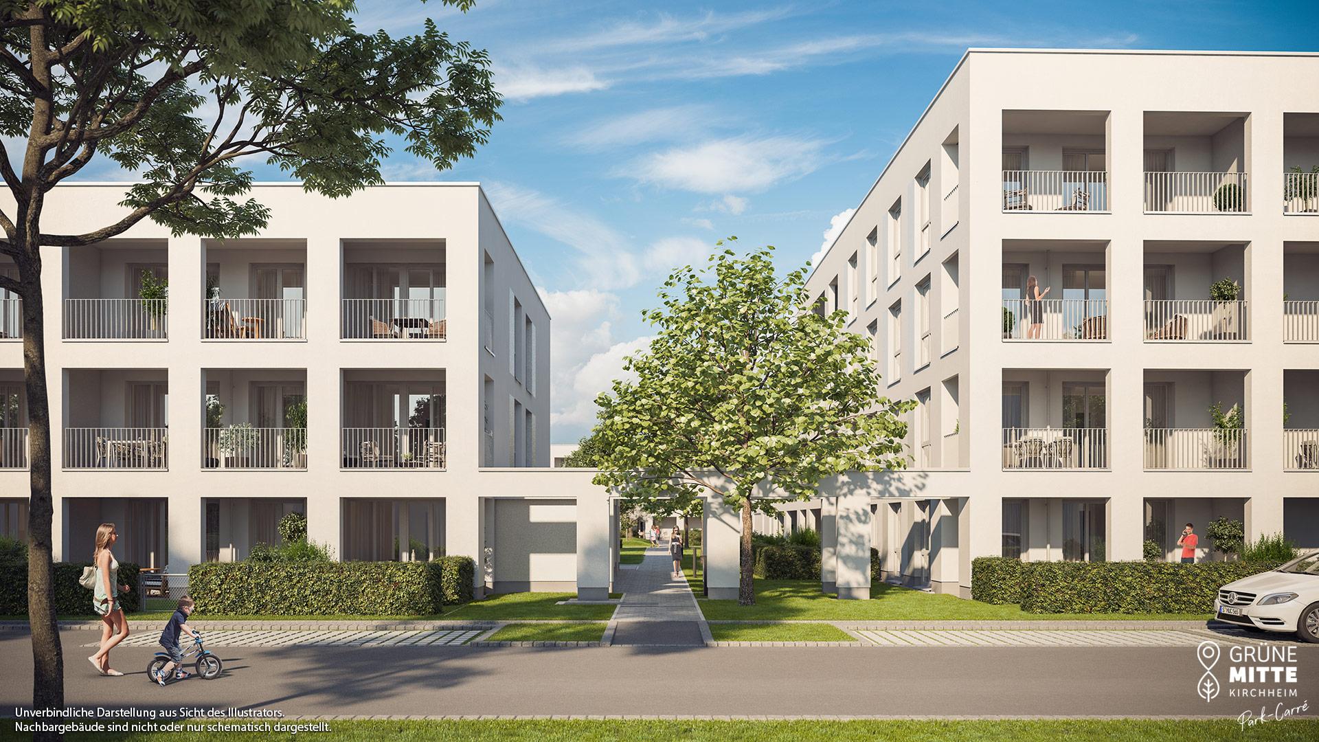Eigentumswohnungen Kirchheim bei München: Grüne Mitte Kirchheim - Park-Carré - Illustration 6
