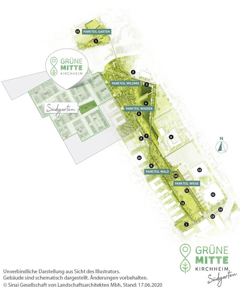 Immobilie Grüne Mitte Kirchheim - Suedgarten - Gesamtlageplan
