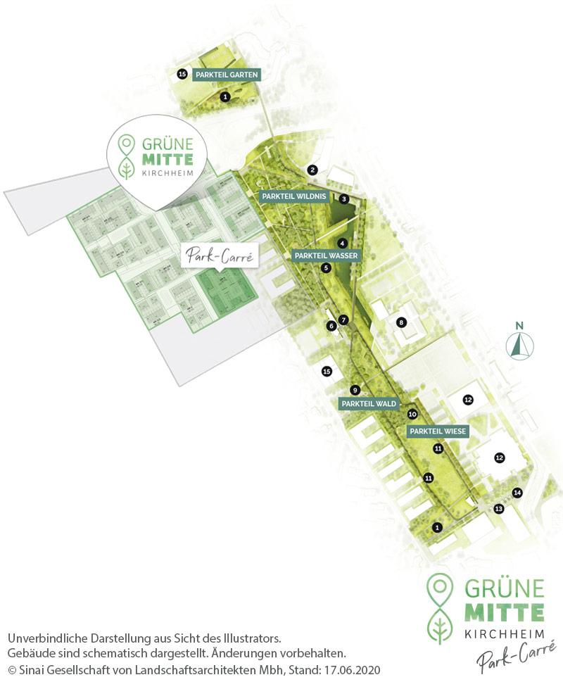 Eigentumswohnungen Kirchheim bei München: Grüne Mitte Kirchheim - Park-Carré - Gesamtlageplan
