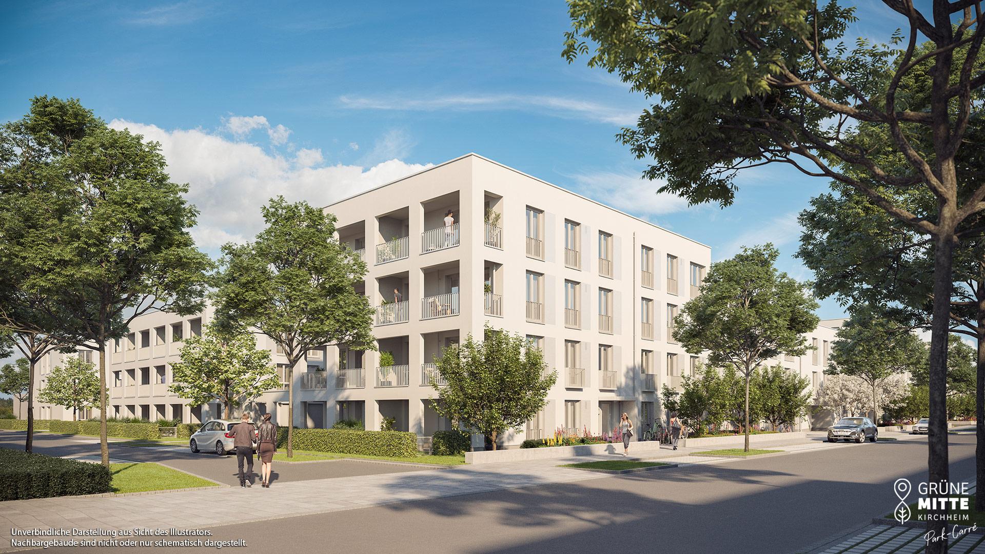 Eigentumswohnungen Kirchheim bei München: Grüne Mitte Kirchheim - Park-Carré - Illustration 1