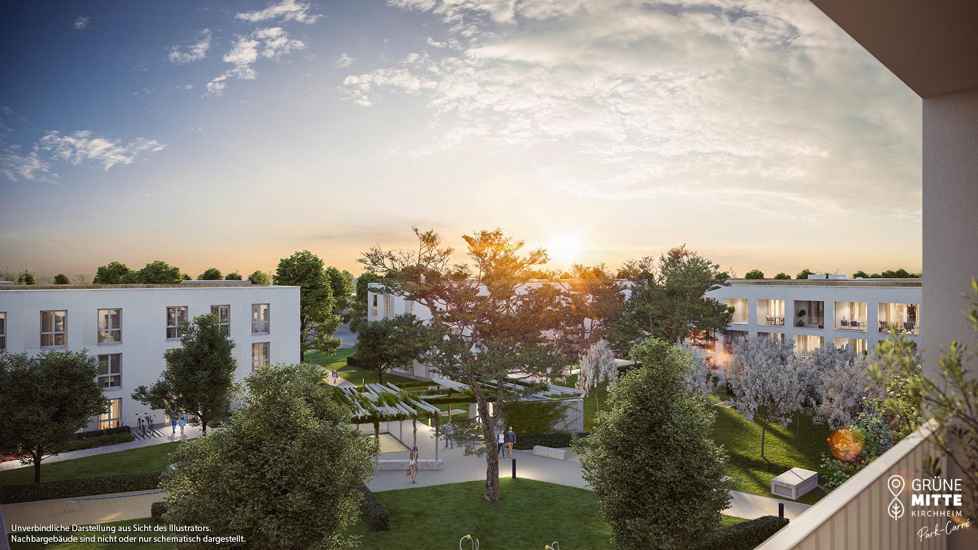 Eigentumswohnungen Kirchheim bei München: Grüne Mitte Kirchheim - Park-Carré - Illustration 4