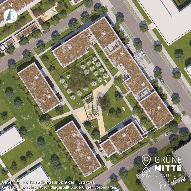 Eigentumswohnungen Kirchheim bei München: Grüne Mitte Kirchheim - Park-Carré - Lageplan