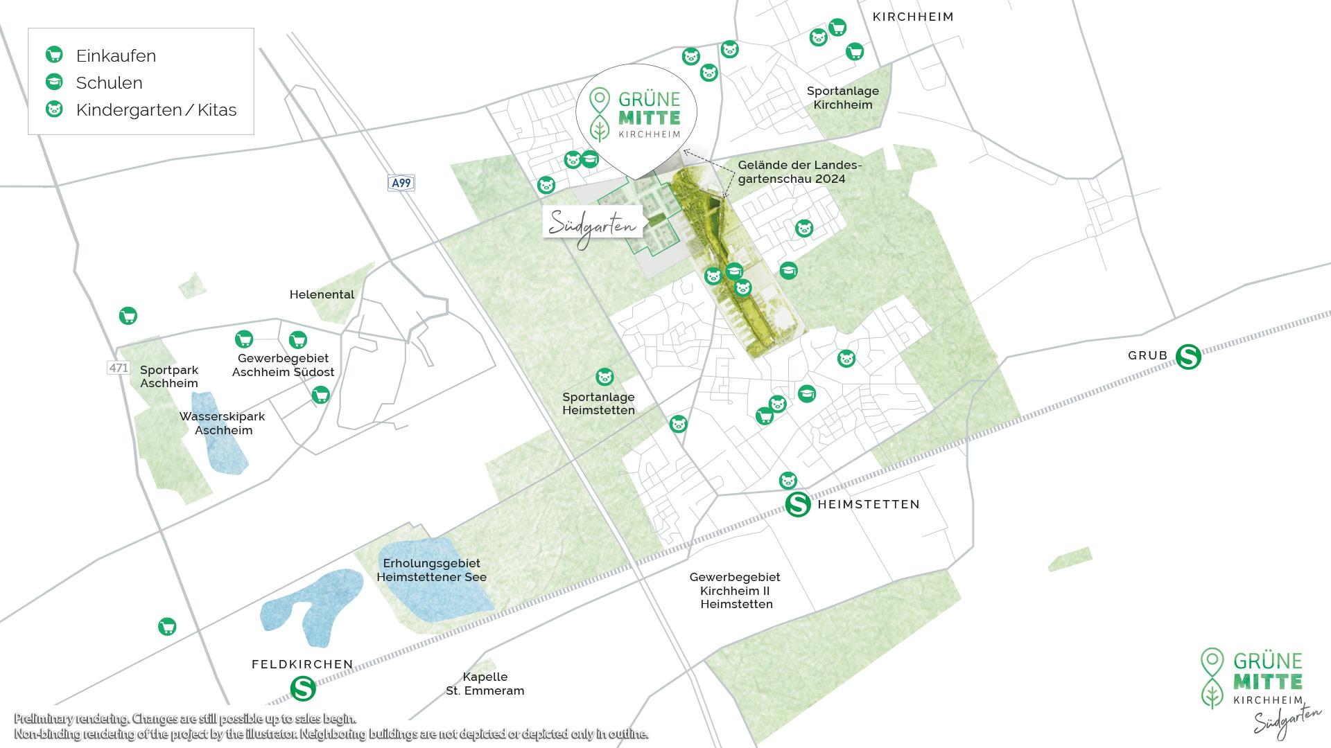 Property Gruene Mitte Kirchheim - Suedgarten - Illustration Overview