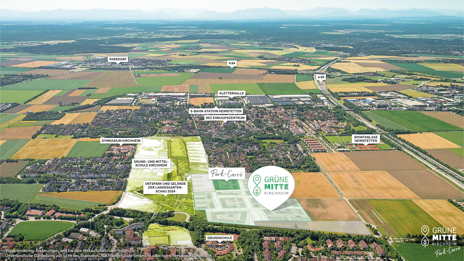 Immobilie Grüne Mitte Kirchheim - Park-Carré - Vorankündigung - Luftbild