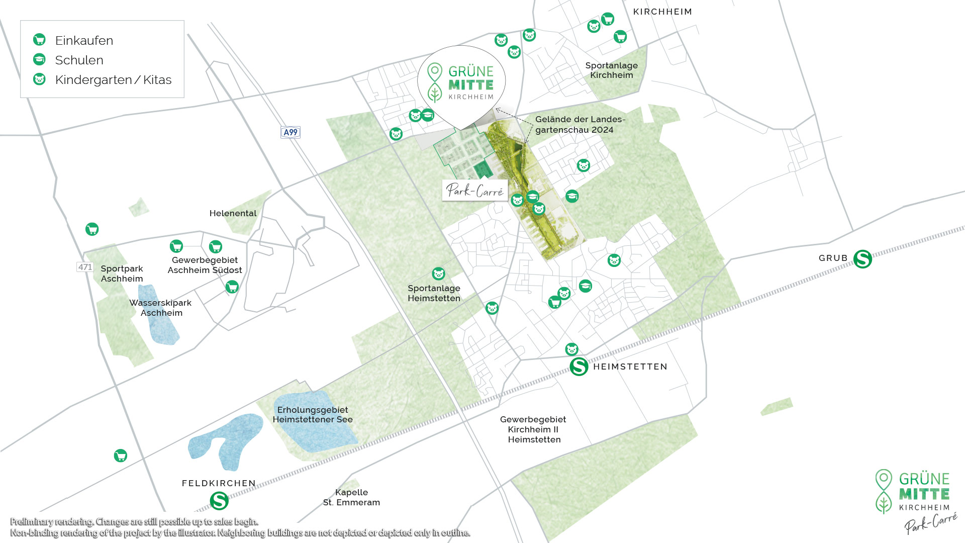 Property Gruene Mitte Kirchheim - park-Carr - Preannouncement - Overview
