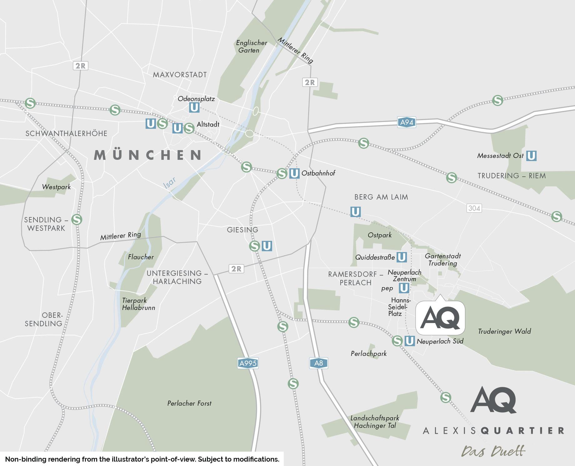 Condominiums Alexisquartier - Das Duett - City map 1