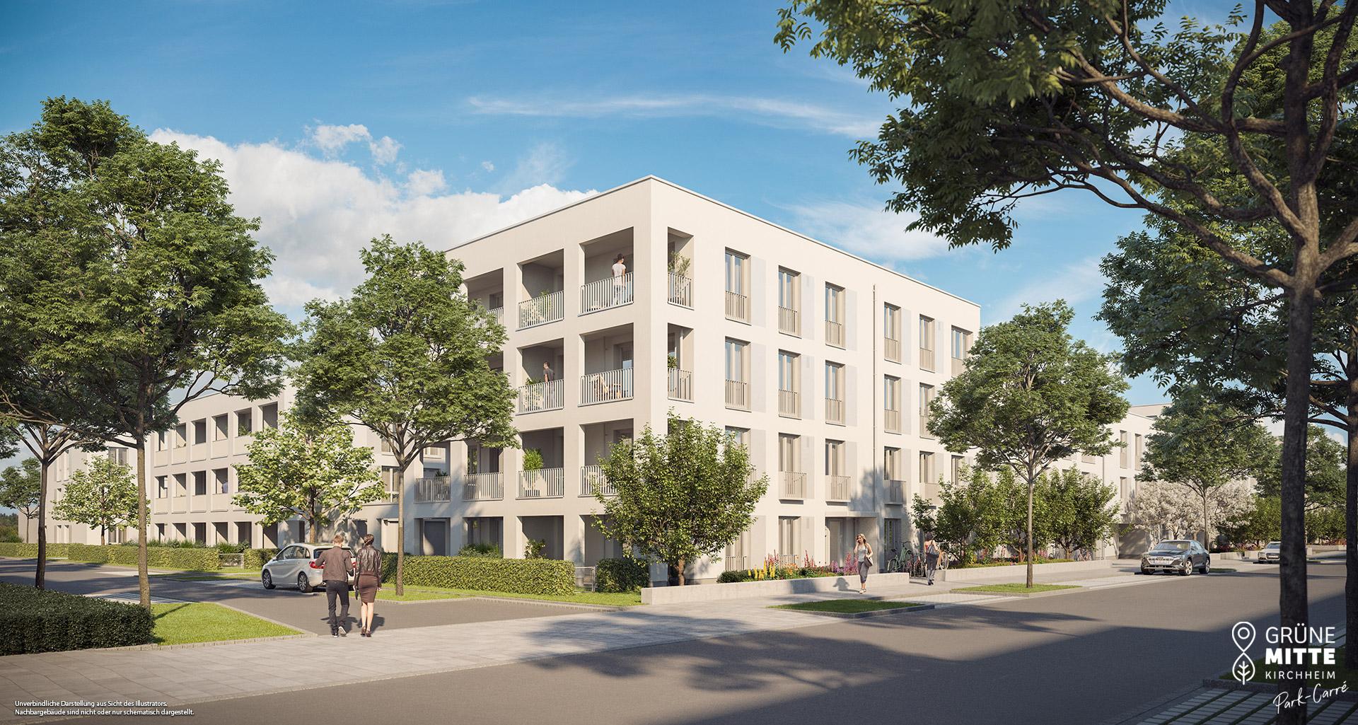 Eigentumswohnungen Kirchheim bei München: Grüne Mitte Kirchheim - Park-Carré - Slider
