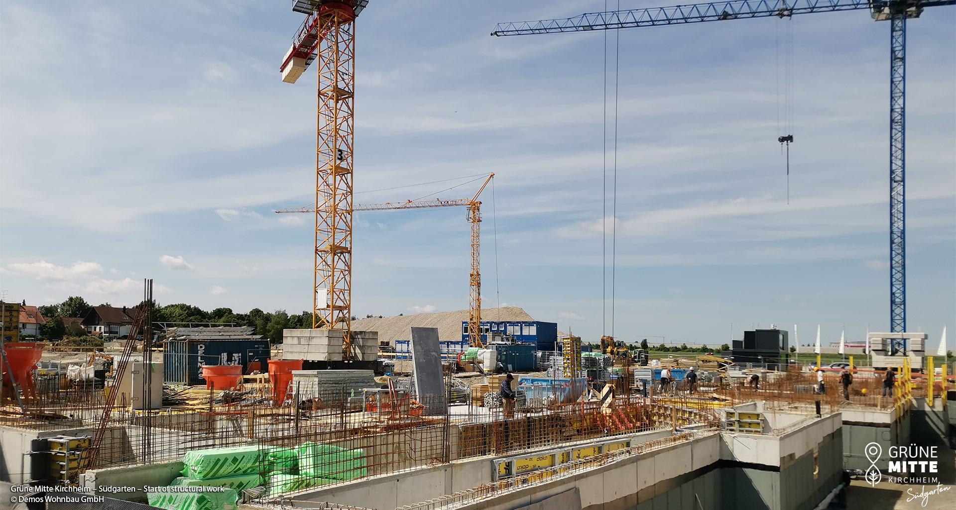 'GRÜNE MITTE KIRCHHEIM - Südgarten' in Kirchheim near Munich: structural work has begun