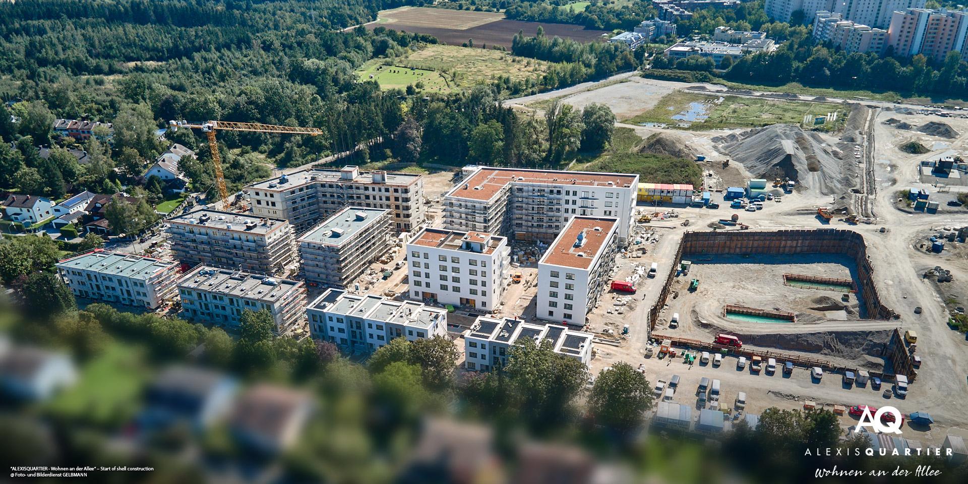'ALEXISQUARTIER – Wohnen an der Allee' in Munich-Perlach: Start of the shell construction work