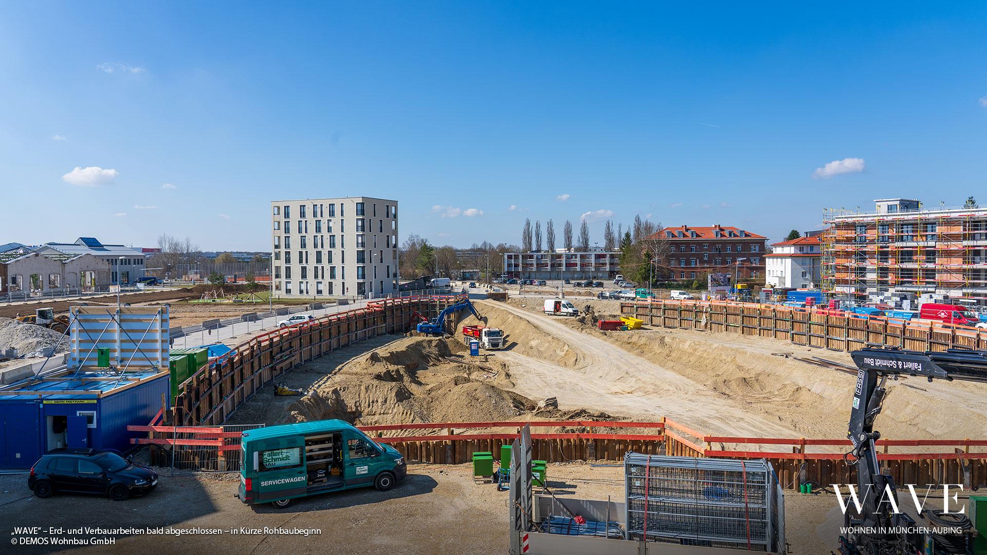 """""""WAVE"""" in München-Aubing: Verbau- und Erdarbeiten bald abgeschlossen – In Kürze Rohbaubeginn"""