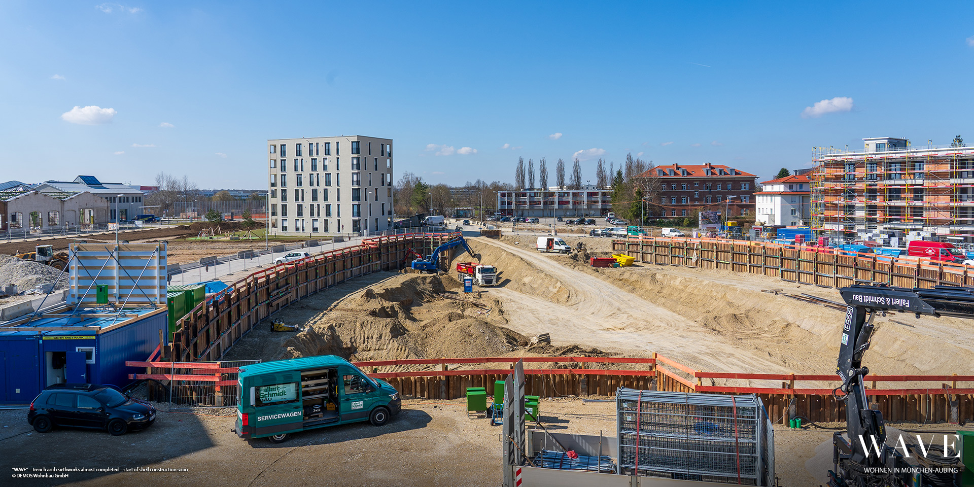 'WAVE' in Munich-Aubing: Shoring and earthworks will soon be completed-carcass work to begin shortly