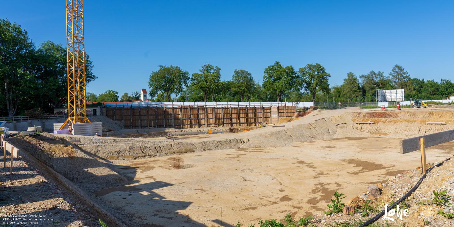 'An der Lohe' in Munich-Lochhausen: Start of shell construction