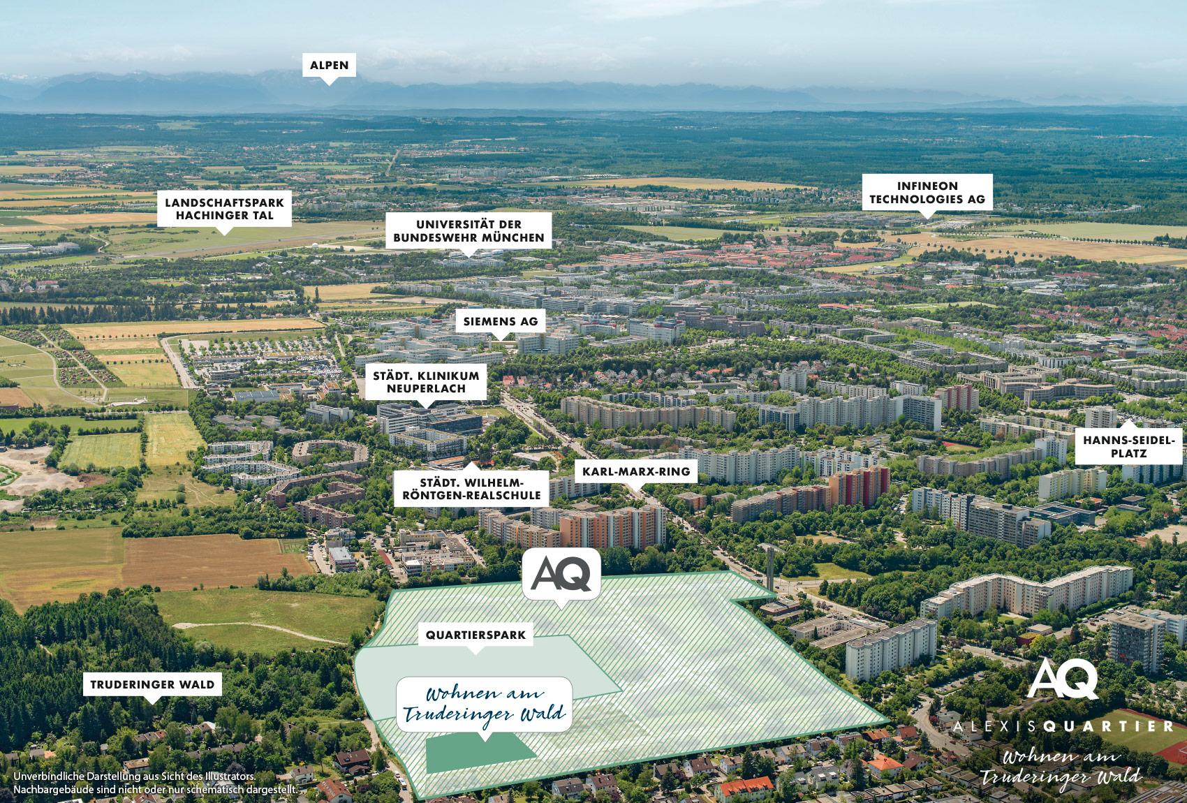 Immobilie Alexisquartier - Wohnen am Truderinger Wald - Luftbild