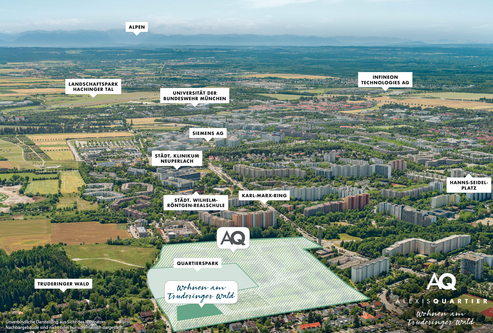 Property Alexisquartier - Wohnen am Truderinger Wald - commercial units - aerial photo