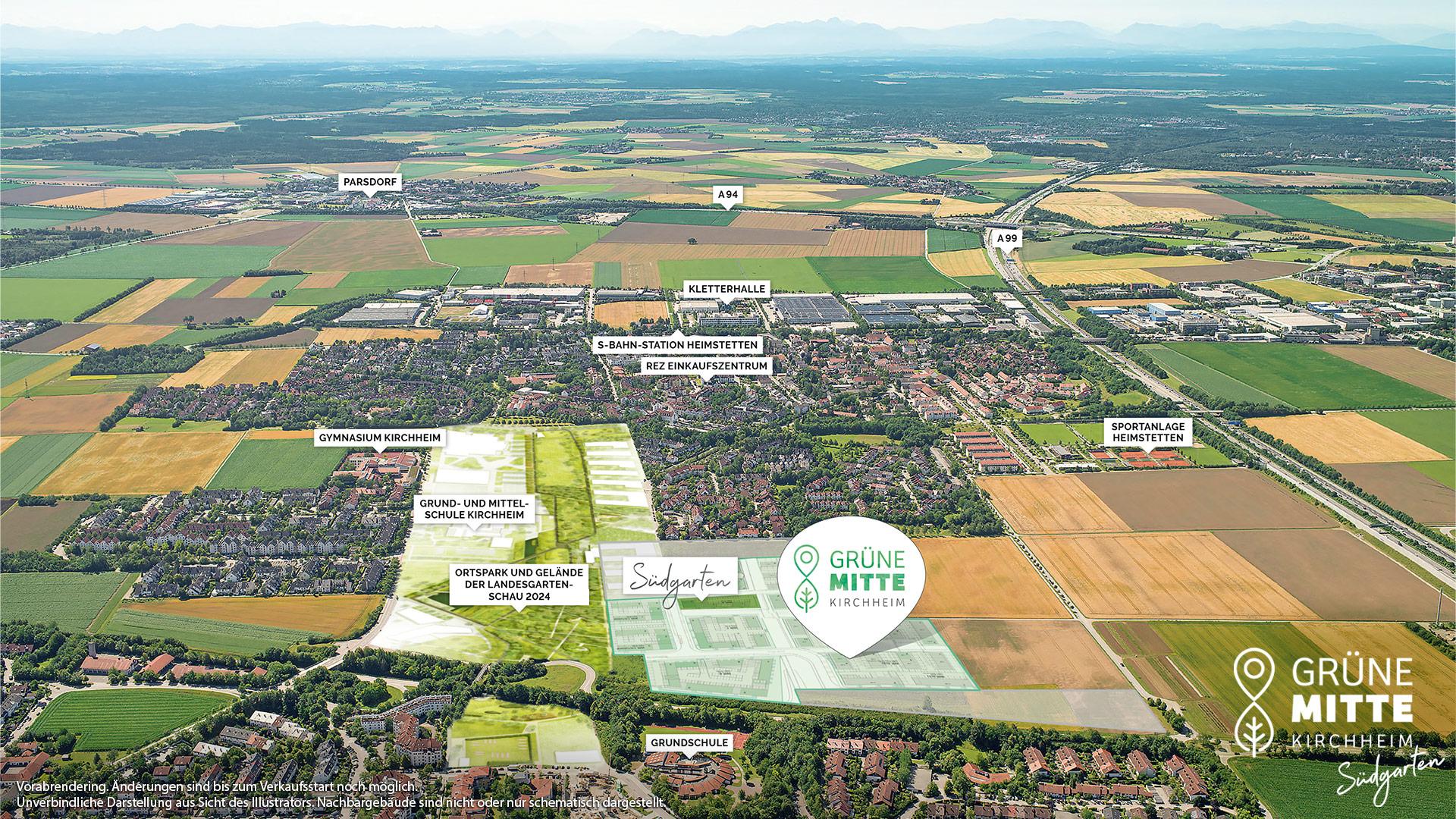 Immobilie Grüne Mitte Kirchheim - Suedgarten - Vorankündigung - Luftbild