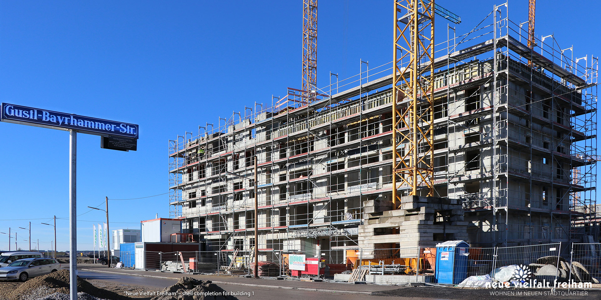 """Neue Vielfalt Freiham"" in Munich-Freiham: Shell completion for building 1"