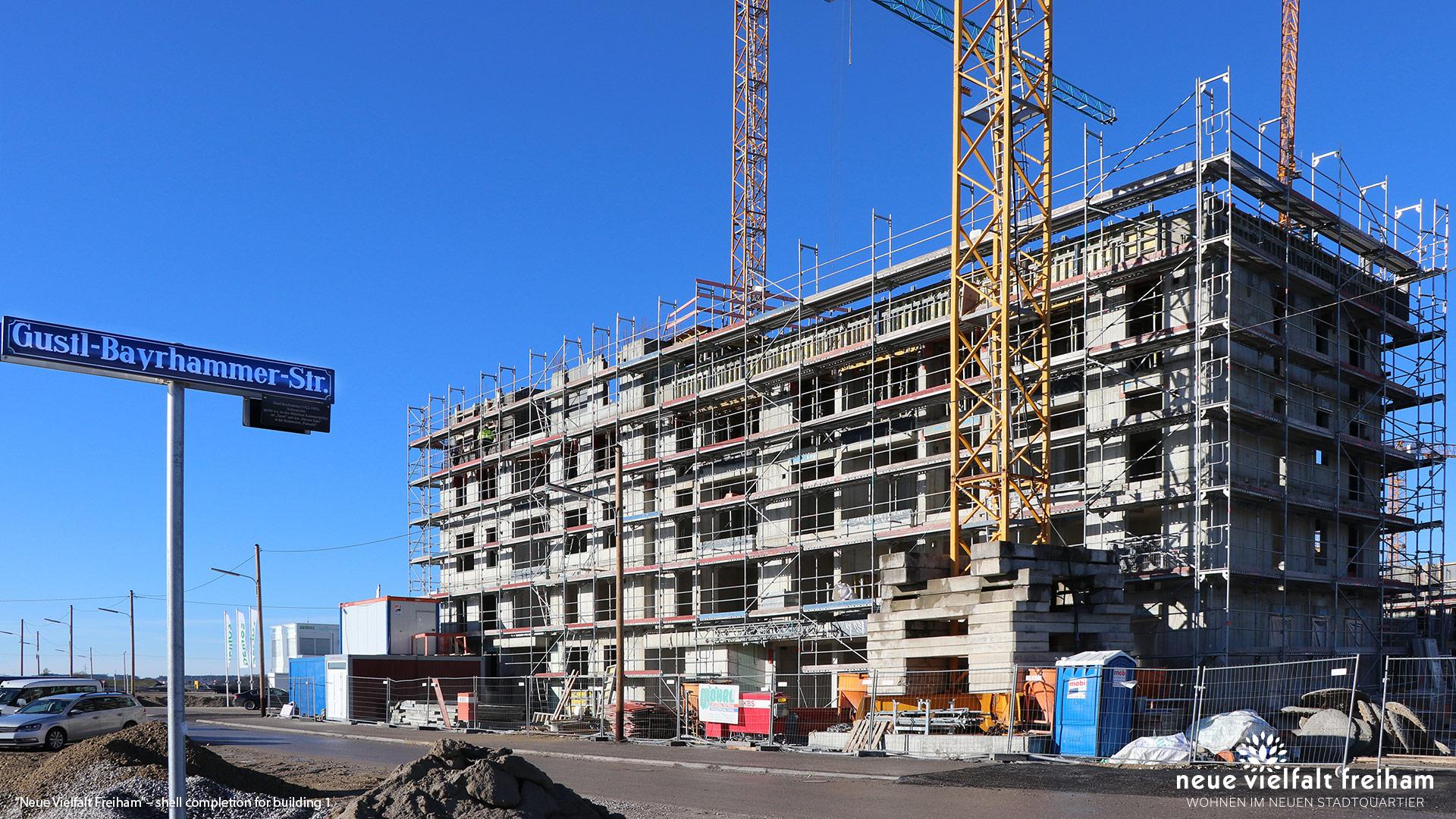 """""""Neue Vielfalt Freiham"""" in Munich-Freiham: Shell completion for building 1"""