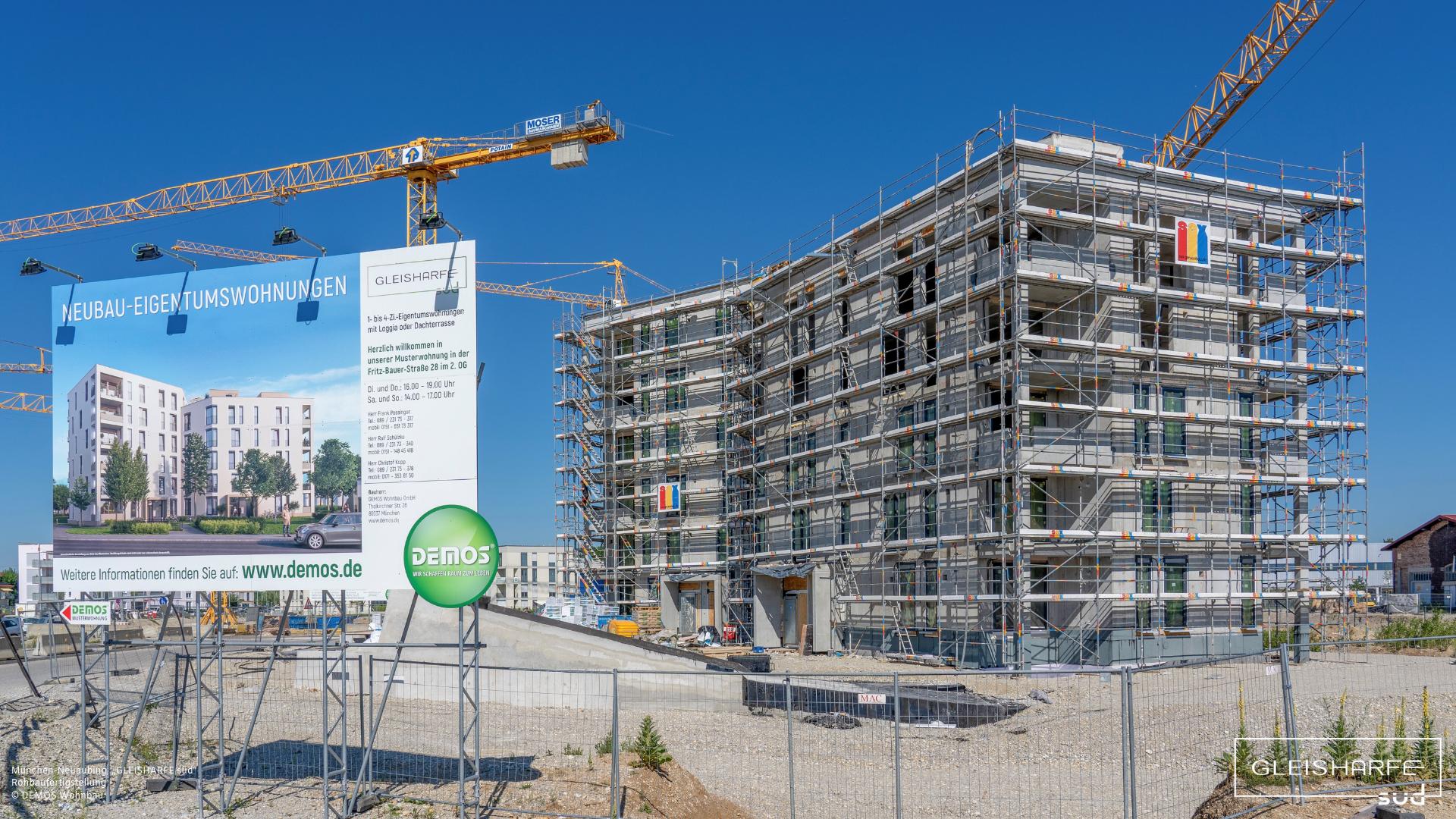 """""""GLEISHARFE süd"""" in Neuaubing: Fertigstellung der Rohbauarbeiten"""