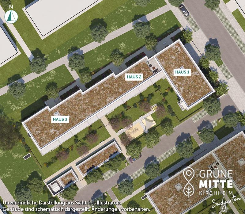 Immobilie Grüne Mitte Kirchheim - Suedgarten - Lageplan