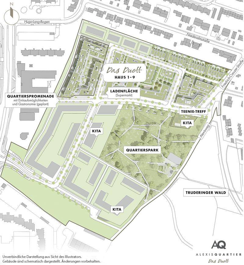 Immobilie Alexisquartier - Das Duett - Gesamtlageplan