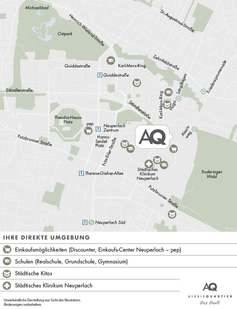 Immobilie Alexisquartier - Wohnen an der Allee - Stadtplanausschnitt 2