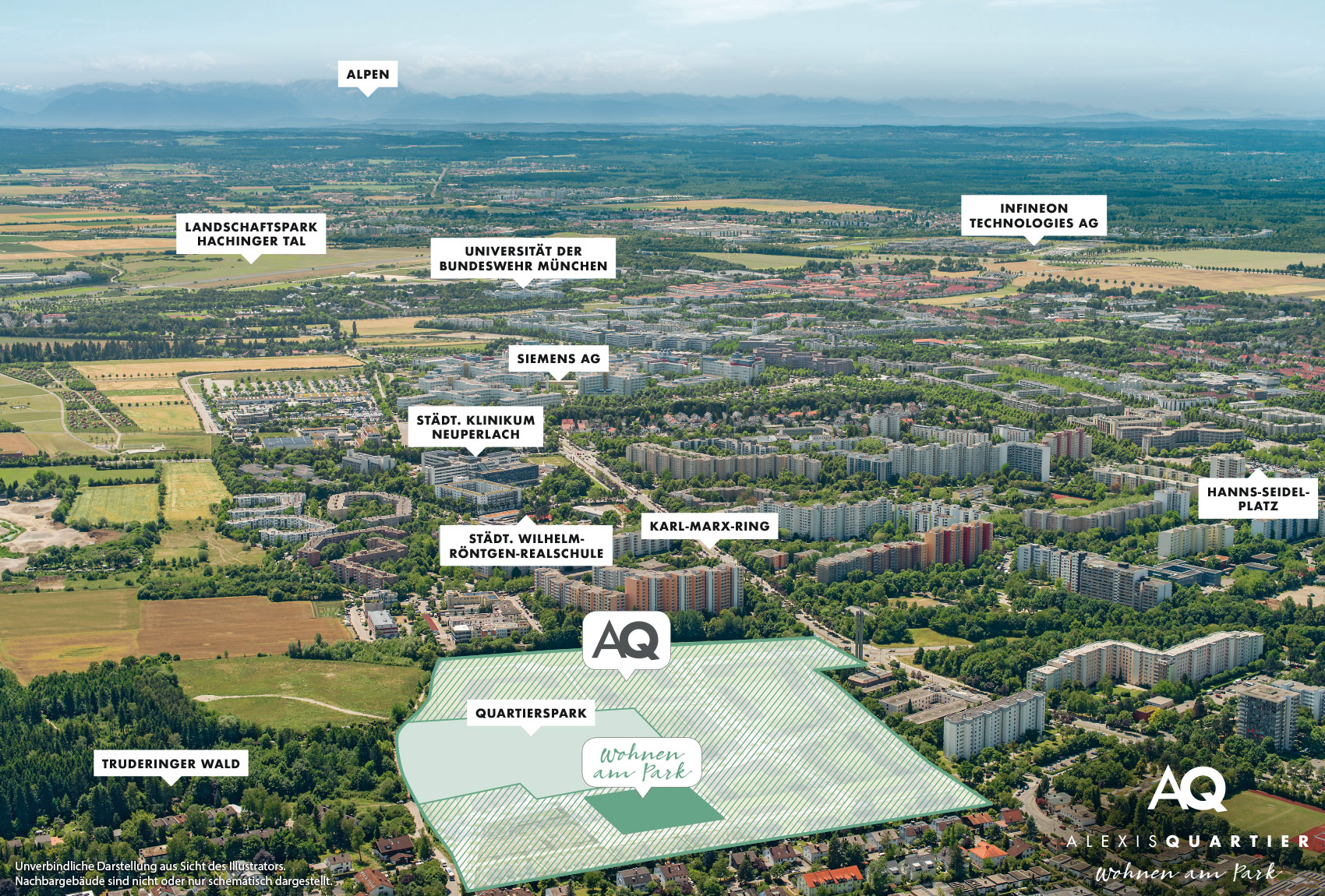 Immobilie Alexisquartier - Wohnen am Park - Gewerbeeinheiten - Luftbild
